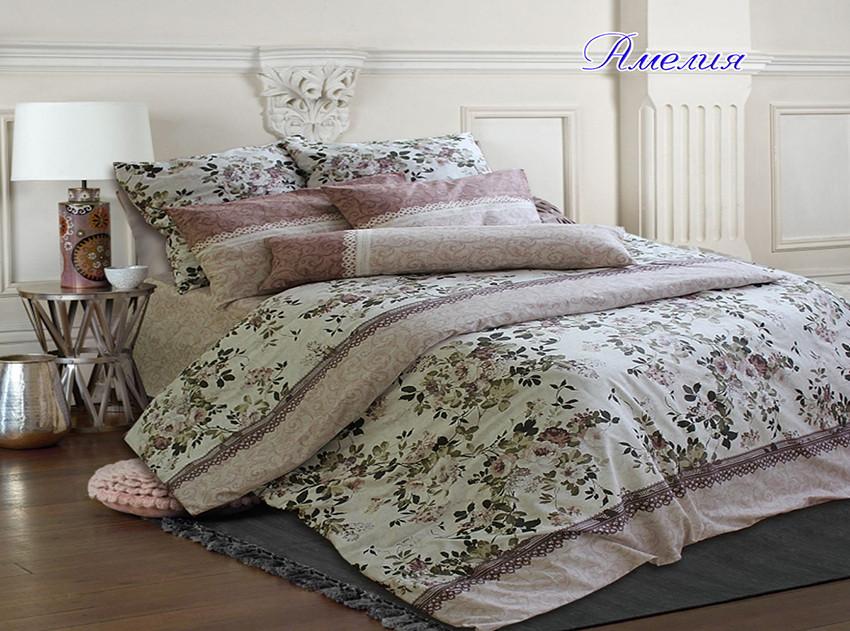 Двуспальный комплект постельного белья с цветами, Ранфорс