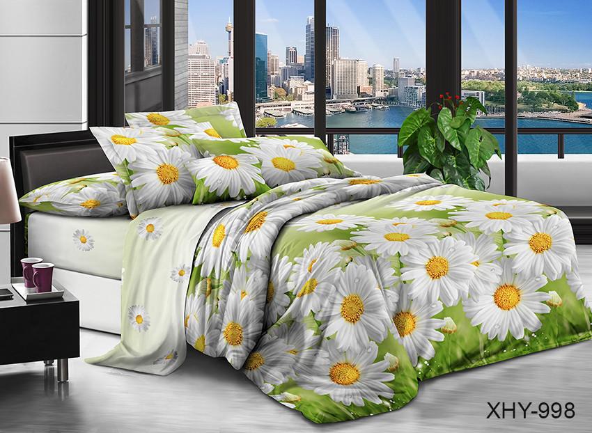 Двуспальный комплект постельного белья зеленого цвета с ромашками, Поликоттон