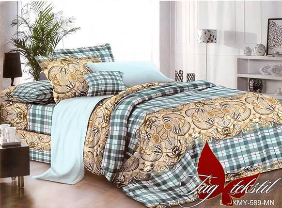 Двуспальный комплект постельного белья в клеточку, Поликоттон, фото 2