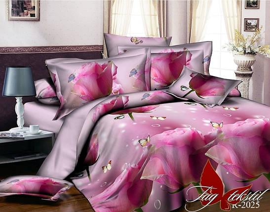 Двуспальный комплект постельного белья розового цвета с розами, Ранфорс, фото 2