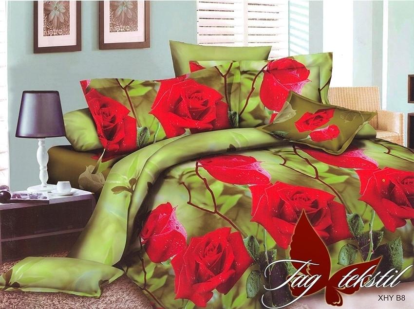 Двуспальный комплект постельного белья зеленого цвета с розами, Поликоттон