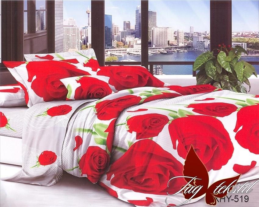 Двоспальний комплект постільної білизни білого кольору з трояндами, Полікотон