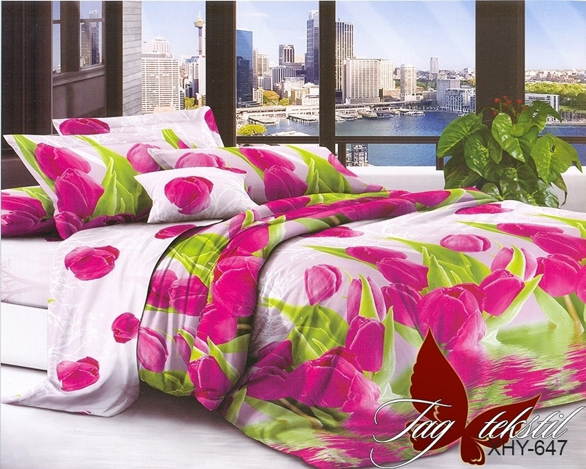 Двуспальный комплект постельного белья белого цвета с тюльпанами, Поликоттон
