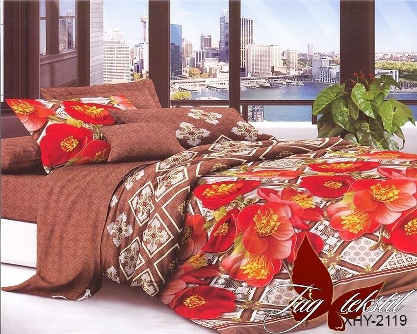 Двуспальный комплект постельного белья коричневого цвета с маками, Поликоттон