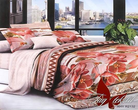 Двуспальный комплект постельного белья с цветами, Поликоттон, фото 2