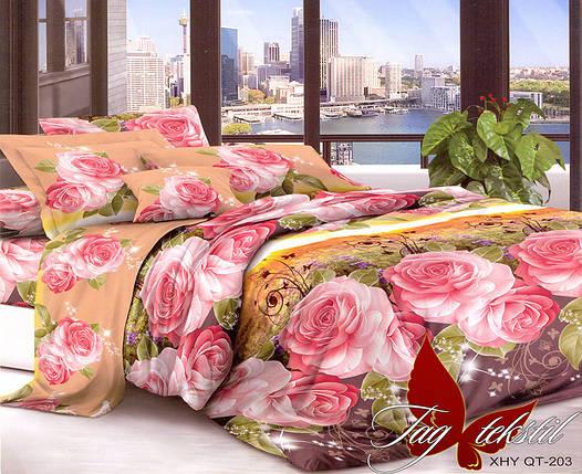 Двуспальный комплект постельного белья с розами, Поликоттон, фото 2