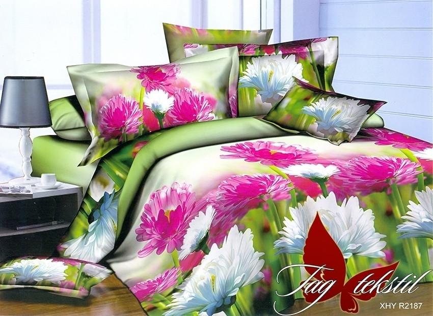 Двуспальный комплект постельного белья зеленого цвета с цветами, Полисатин