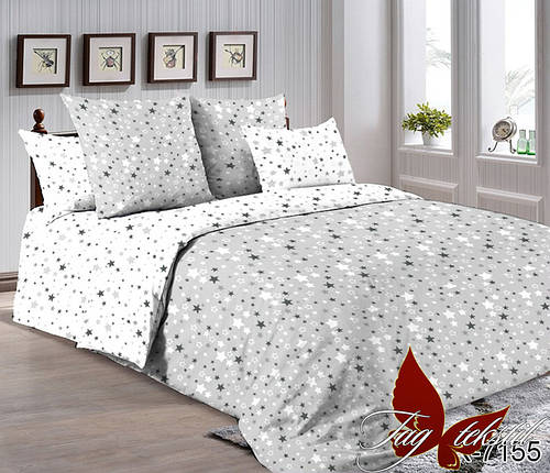 Двуспальный комплект постельного белья серого цвета со звездами, Ранфорс, фото 2