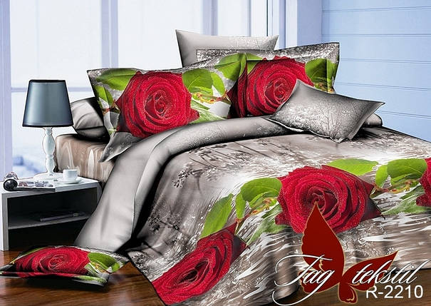 Двуспальный комплект постельного белья серого цвета с розами, Ранфорс, фото 2