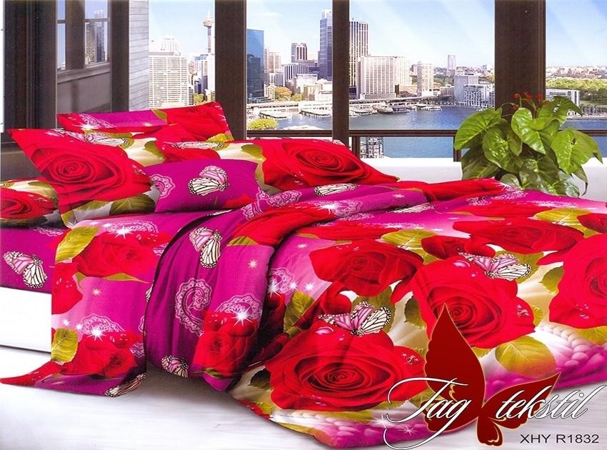 Двоспальний комплект постільної білизни рожевого кольору з трояндами, Полікотон