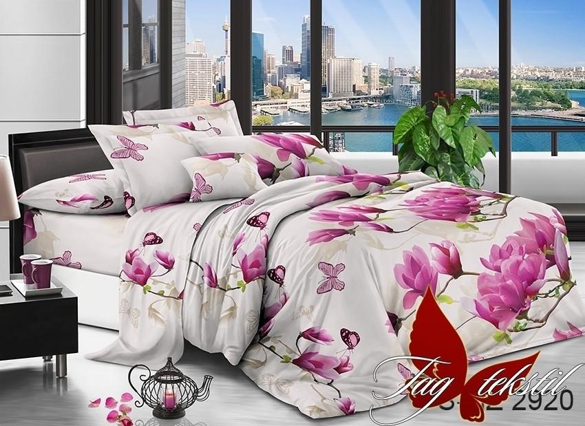 Двуспальный комплект постельного белья белого цвета с цветами, Полисатин