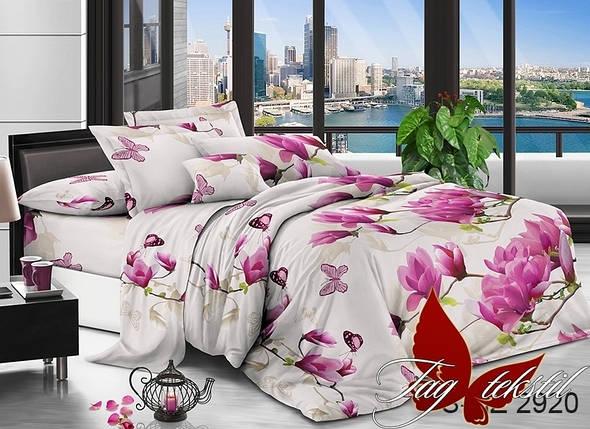 Двуспальный комплект постельного белья белого цвета с цветами, Полисатин, фото 2