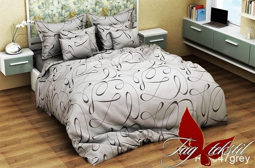 Двуспальный комплект постельного белья серого цвета, Ранфорс