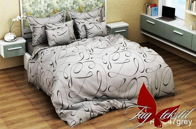 Двуспальный комплект постельного белья серого цвета, Ранфорс, фото 2