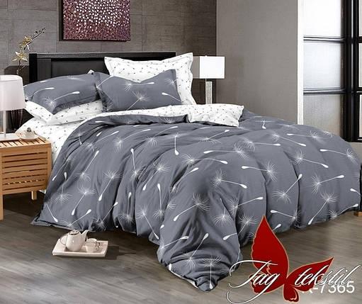 Двуспальный комплект постельного белья серого цвета с одуванчиками, Ранфорс, фото 2