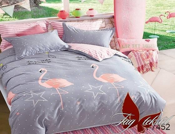 Двуспальный комплект постельного белья серого цвета с фламинго, Ранфорс, фото 2