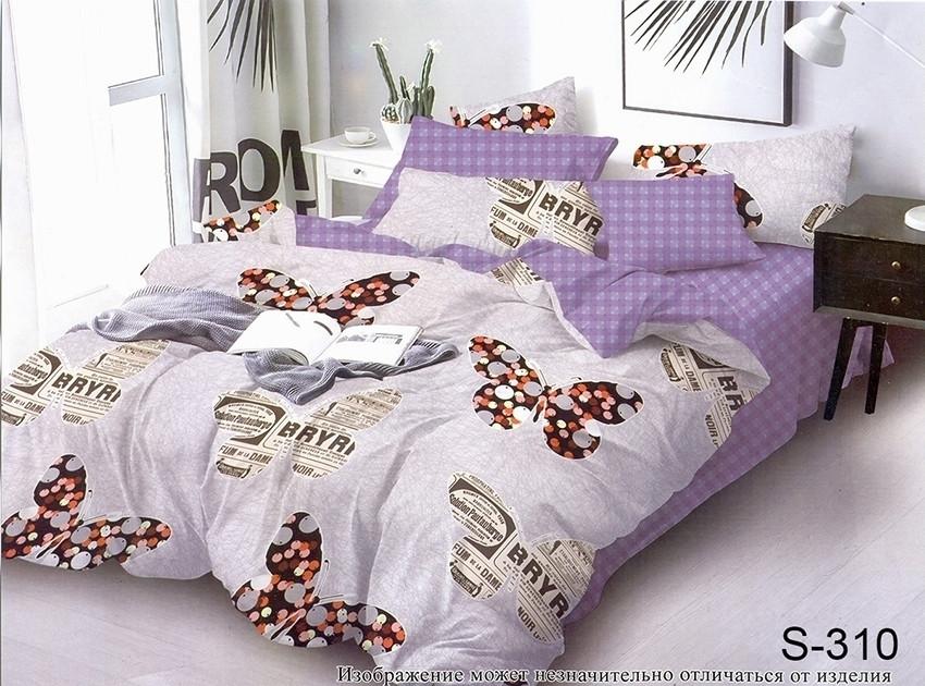 Двуспальный комплект постельного белья с бабочками, Сатин-люкс