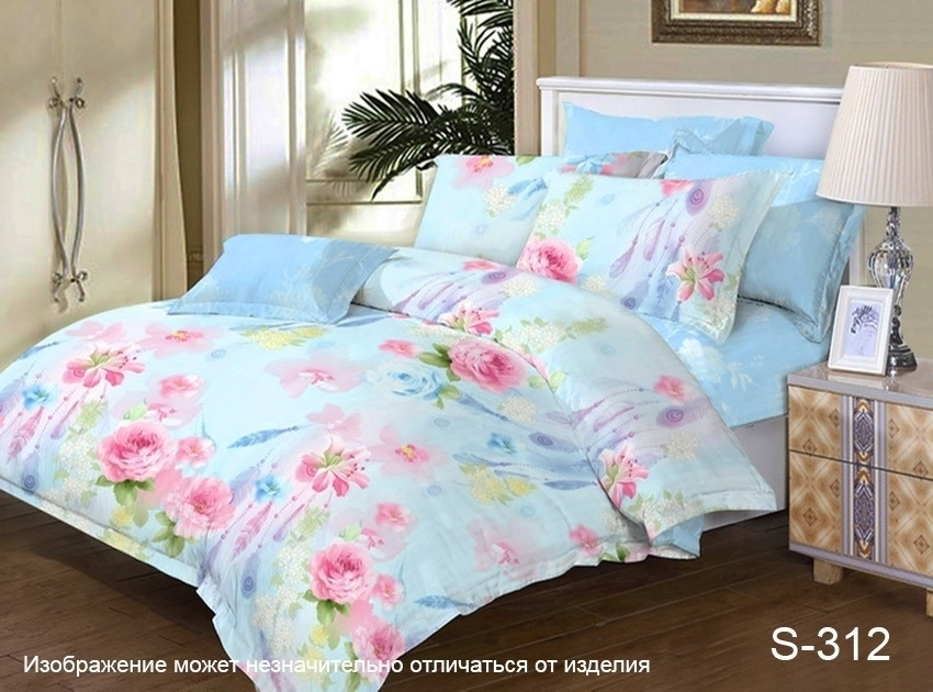 Двоспальний комплект постільної білизни блакитного кольору з квітами, Сатин-люкс