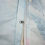 Двоспальний комплект постільної білизни блакитного кольору з квітами, Сатин-люкс, фото 2