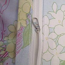 Двуспальный комплект постельного белья голубого цвета с цветами, Сатин-люкс, фото 3