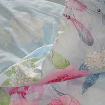 Двуспальный комплект постельного белья голубого цвета с цветами, Сатин-люкс, фото 2