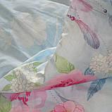 Двоспальний комплект постільної білизни блакитного кольору з квітами, Сатин-люкс, фото 4