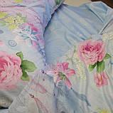 Двоспальний комплект постільної білизни блакитного кольору з квітами, Сатин-люкс, фото 6