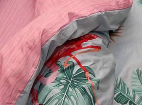 Двуспальный комплект постельного белья с фламинго, Сатин-люкс, фото 3