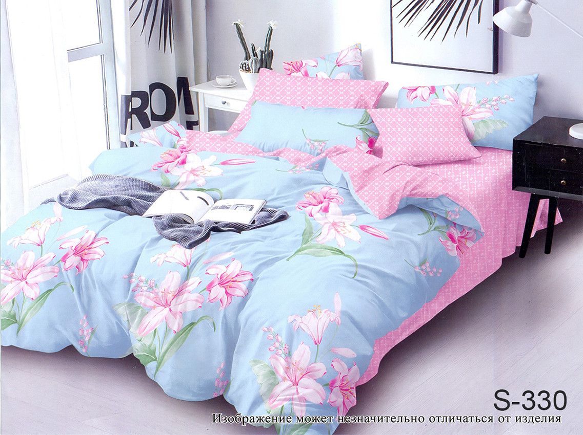 Двуспальный комплект постельного белья голубовато розового цвета с цветами, Сатин-люкс