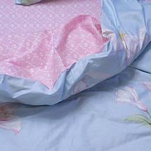 Двуспальный комплект постельного белья голубовато розового цвета с цветами, Сатин-люкс, фото 2