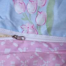 Двуспальный комплект постельного белья голубовато розового цвета с цветами, Сатин-люкс, фото 3