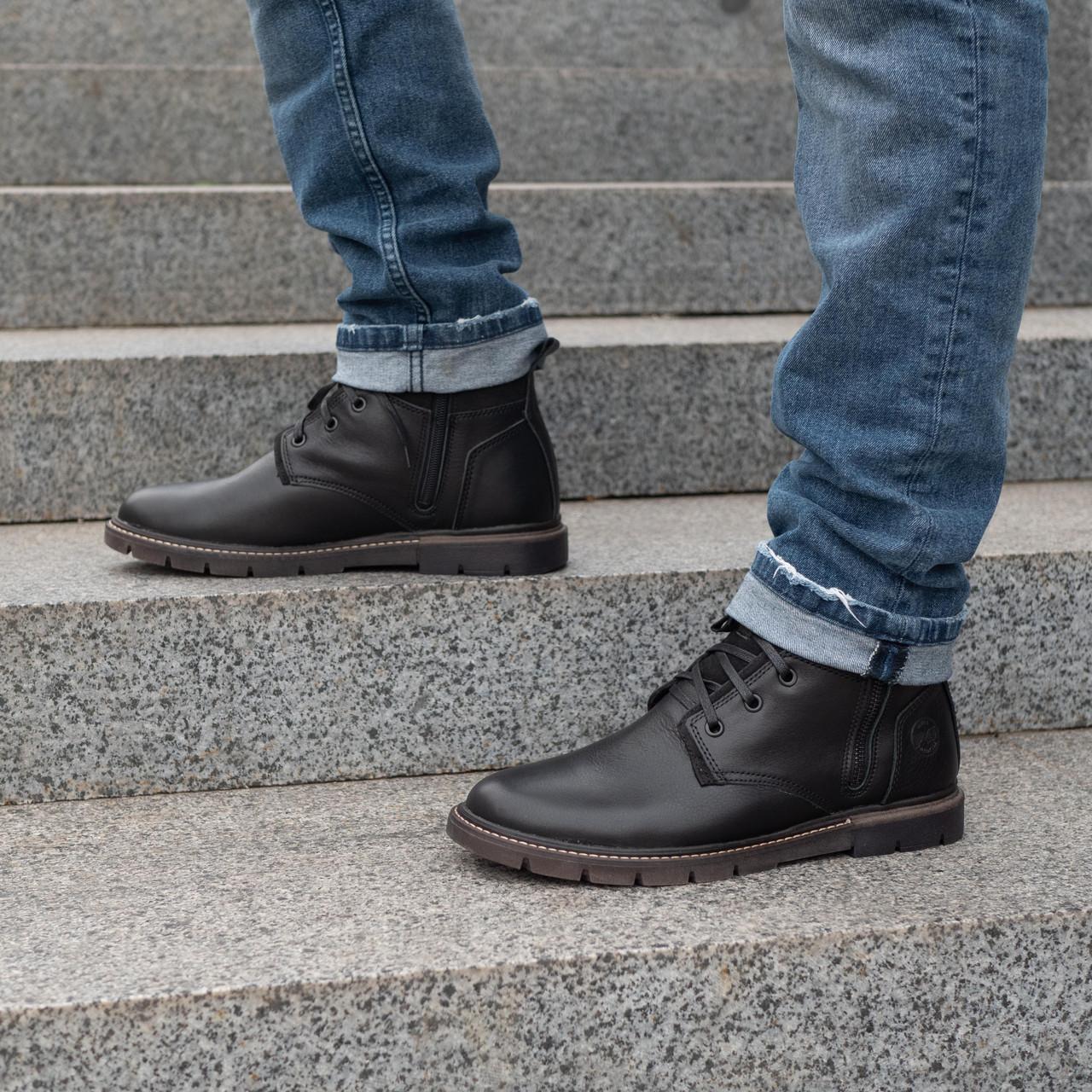Зимовий шкіряні черевики чоловічі 40-44 чорний тайфун+нубук
