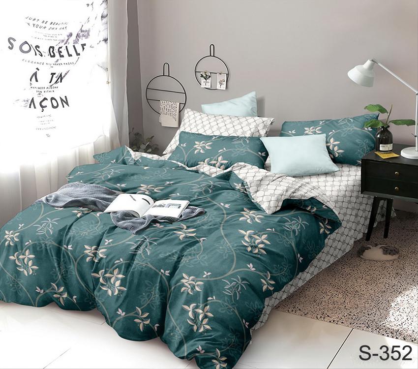 Двуспальный комплект постельного белья зеленого цвета с цветами, Сатин-люкс