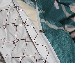 Двуспальный комплект постельного белья зеленого цвета с цветами, Сатин-люкс, фото 3