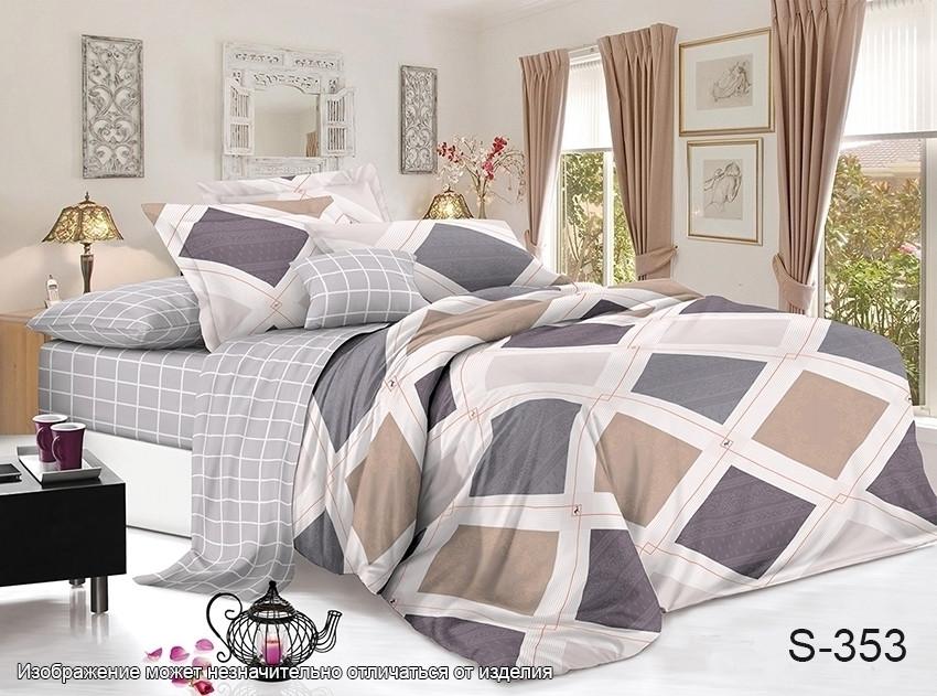 Двуспальный комплект постельного белья бежевого цвета с ромбами, Сатин-люкс