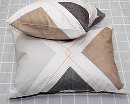 Двуспальный комплект постельного белья бежевого цвета с ромбами, Сатин-люкс, фото 3