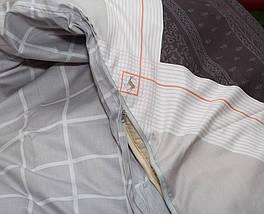 Двуспальный комплект постельного белья бежевого цвета с ромбами, Сатин-люкс, фото 2