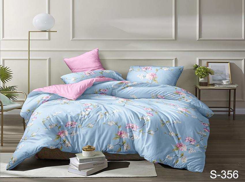 Двуспальный комплект постельного белья голубого цвета с цветами, Сатин-люкс