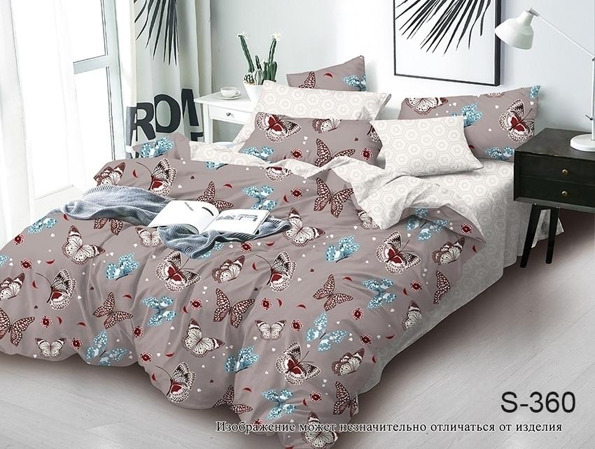 Двуспальный комплект постельного белья коричневого цвета с бабочками, Сатин-люкс
