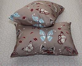 Двуспальный комплект постельного белья коричневого цвета с бабочками, Сатин-люкс, фото 3