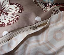 Двуспальный комплект постельного белья коричневого цвета с бабочками, Сатин-люкс, фото 2