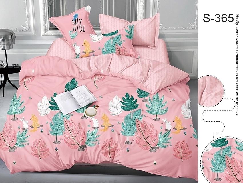Двуспальный комплект постельного белья розового цвета с цветами, Сатин-люкс