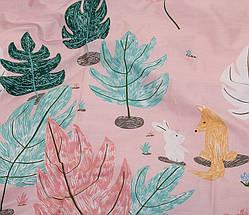 Двуспальный комплект постельного белья розового цвета с цветами, Сатин-люкс, фото 3