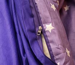 Двуспальный комплект постельного белья синего цвета со звездами, Сатин-люкс, фото 2