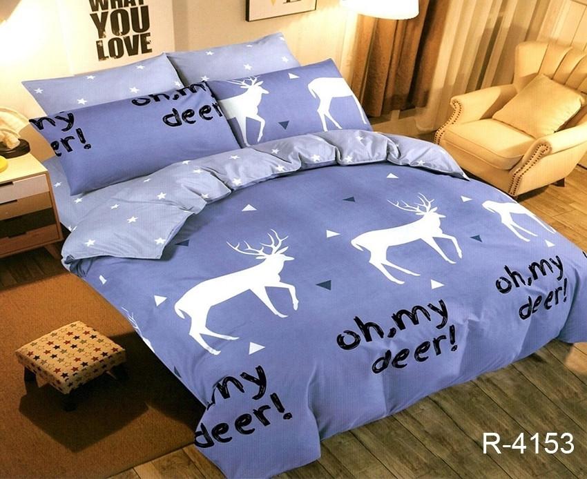 Двуспальный комплект постельного белья синего цвета со звездами, Ранфорс