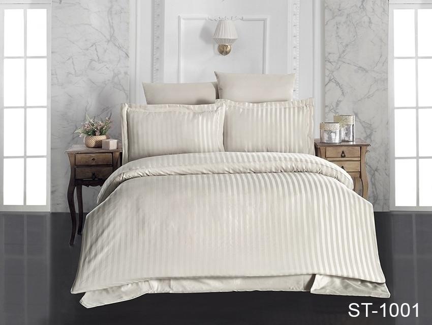 Двуспальный комплект постельного белья бежевого цвета в полоску, Сатин-страйп
