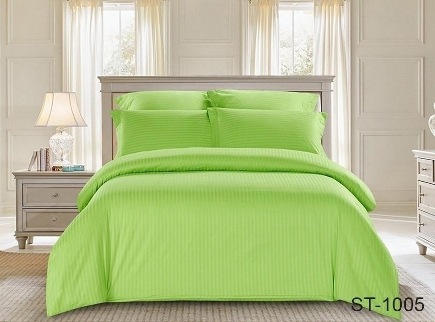 Двуспальный комплект постельного белья зеленого цвета в полоску, Сатин-страйп