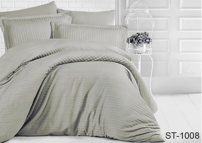 Двуспальный комплект постельного белья серого цвета в полоску, Сатин-страйп