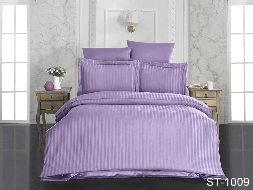 Двуспальный комплект постельного белья фиолетового цвета в полоску, Сатин-страйп