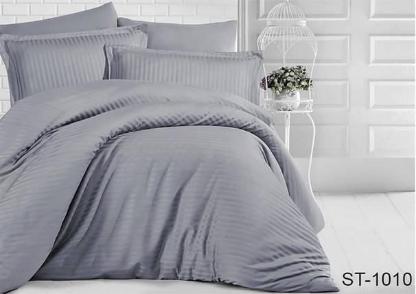 Двуспальный комплект постельного белья серого цвета в полоску, Сатин-страйп, фото 2